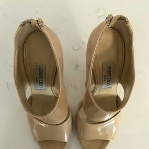 Jimmy Choo Shoes - Jimmy Choo patent leather nude heels